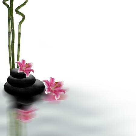 Spa encore la vie avec des fleurs et de bambou Banque d'images