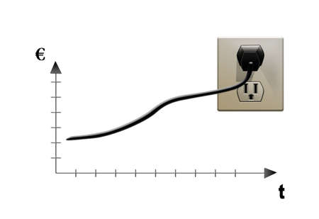 increase diagram: graph is growing up  The increase in electricity prices