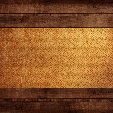 Holz Hintergrund mit gelbem Leder Standard-Bild