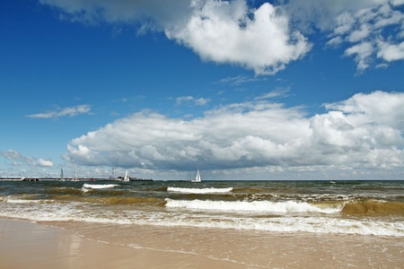 baltic sea at cloudy day photo