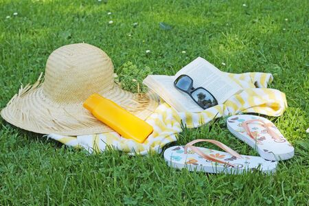 flipflops: summer accessories on gras in garden Stock Photo