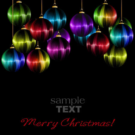 rainbow Christmas ball on dark background  Stock Photo - 15843788