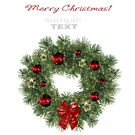 Christmas decoration wreath isolated on white background  photo