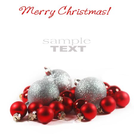 new yea: Christmas background with red baubles  Stock Photo
