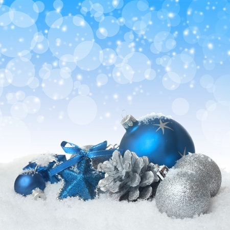 Blue christmas balls Banque d'images