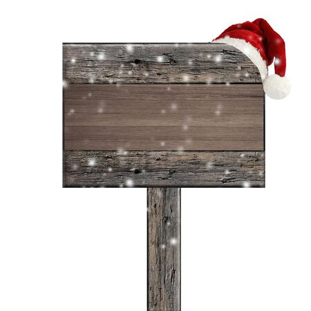 wooden sign with Santa hat on white background  photo