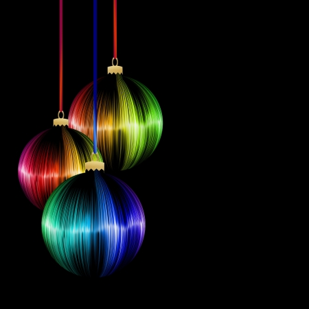 modern christmas baubles: rainbow Christmas ball on dark background