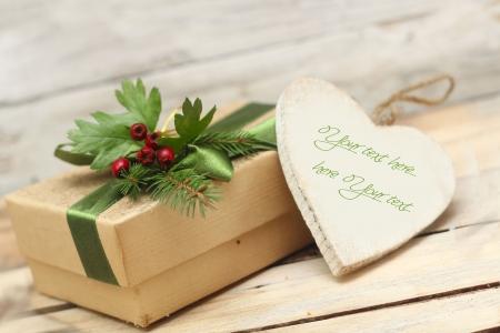 Kerst doos en het hart Stockfoto - 16188581