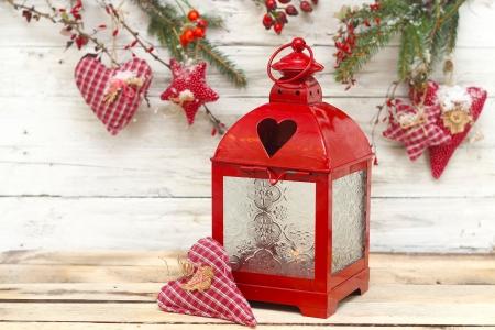 heart burn: burning lantern and christmas drcoration Stock Photo