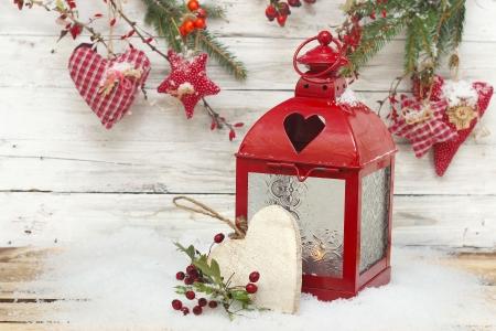 burning lantern and christmas drcoration Stockfoto