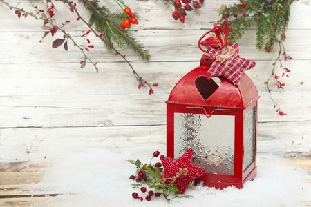 burning lantern and christmas drcoration Stock Photo
