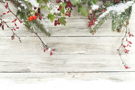 christmas decoration on wooden background photo