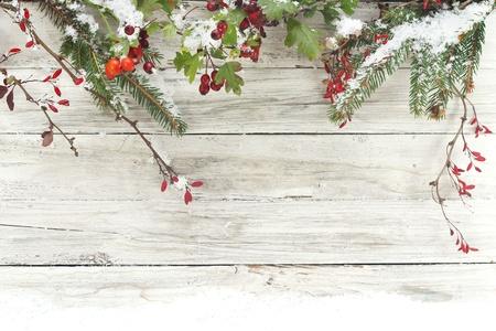 d�coration de No�l sur fond de bois