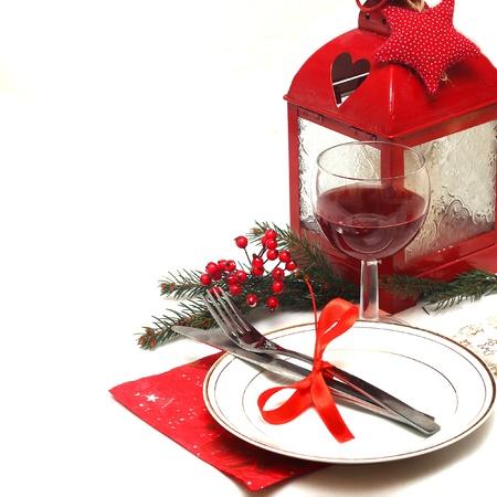 cena navide�a: Navidad ajuste de la tabla Foto de archivo