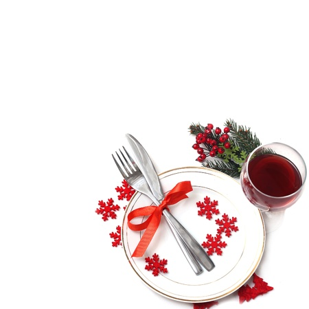 plate setting:  Christmas table setting  Stock Photo
