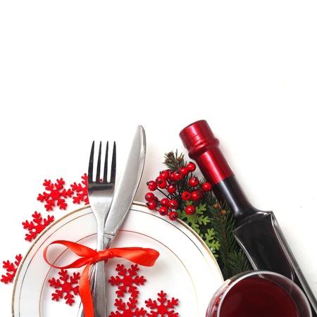 cena de navidad: Navidad ajuste de la tabla Foto de archivo