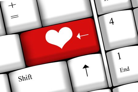 Computer keyboard with love key - concept for Valentine photo