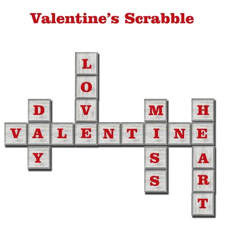 Scrabble game, concept for Valentine s day photo