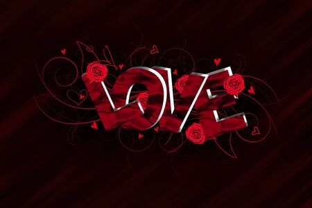 edit valentine: 3D Love text composition Stock Photo