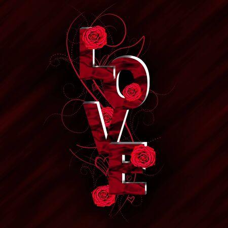 edit valentine: 3D Love text composition Stock Photo