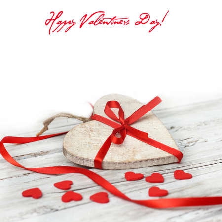valentine background:  wooden background with red heart