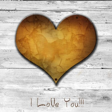 love symbol on old wooden wall background Stock Photo - 17056612
