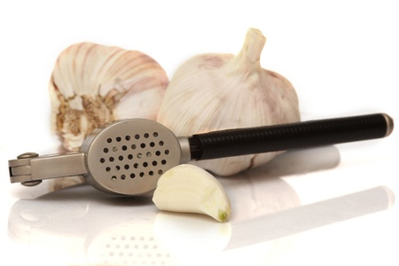 Composition with fresh garlic on white background Stock Photo - 17056623