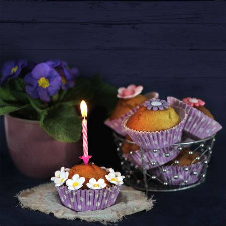 Delicious cupcakes with candle and flowers decoration Stock Photo - 17567767