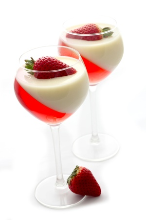 gelatine: fruit jelly with strawberry in glasses Stock Photo