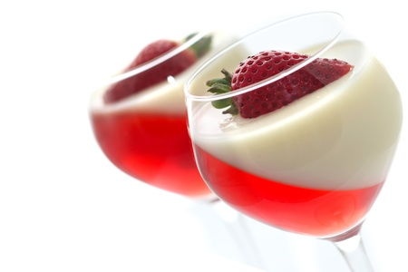 strawberry jelly: fruit jelly with strawberry in glasses Stock Photo