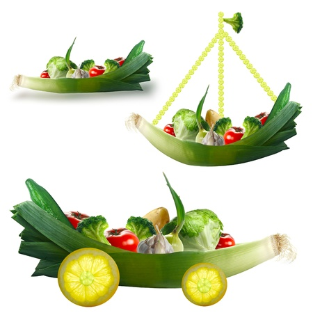 Toy with fresh vegetables on a white background  The concept for children