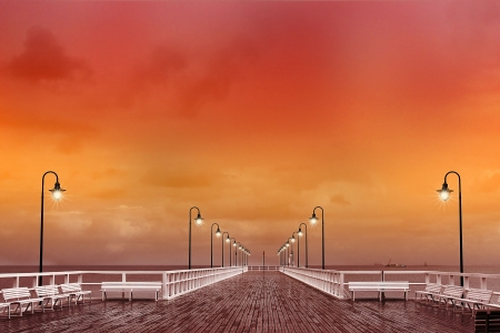 sunset at the pier in Poland  photo