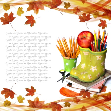 new school year: basBack to school concept on autumn background ket with fresh apple