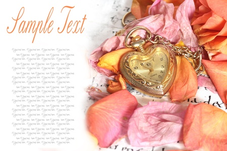 timepiece: old pocket watch in a vintage romantic letter