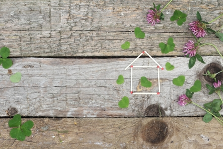 goodluck: Concept of eco wooden house Stock Photo