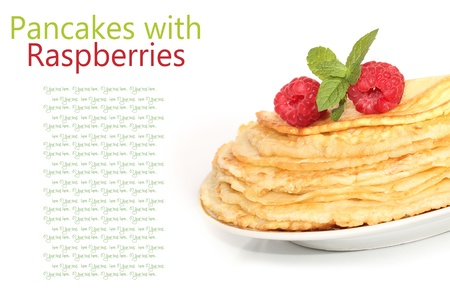 Sweet pancakes with fresh raspberries on white background  photo