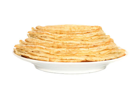 rubicund:   Stack of pancakes  isolated on white Stock Photo
