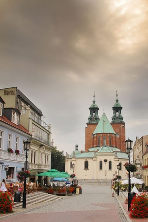 wielkopolskie: Cathedral in Gniezno and the Boleslaw Chrobry street in the old town Editorial