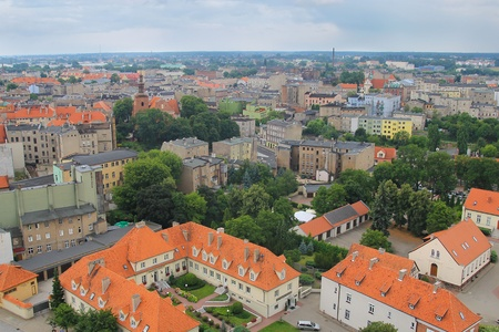wielkopolskie: panorama of Gniezno  view from the tower Archicathedral Basilica Editorial