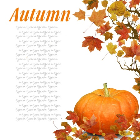 Wave from Autumn Leaves with pumpkin