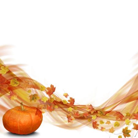 Vague de feuilles d'automne avec citrouille
