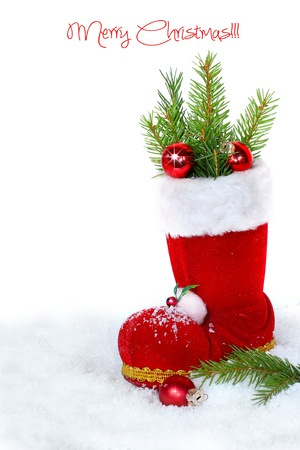 botas de navidad: Botas de navidad en el fondo blanco Foto de archivo