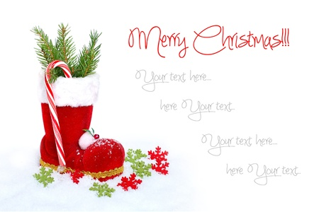 Christmas boots on white background photo