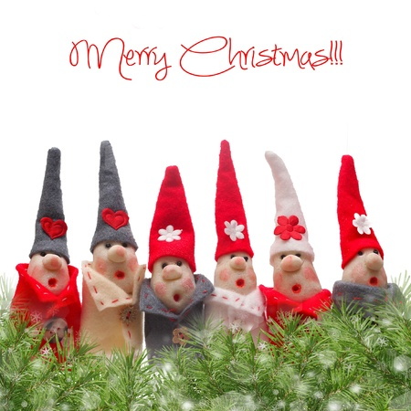 Christmas Elves decorations. Product made from salt and flour Stock Photo