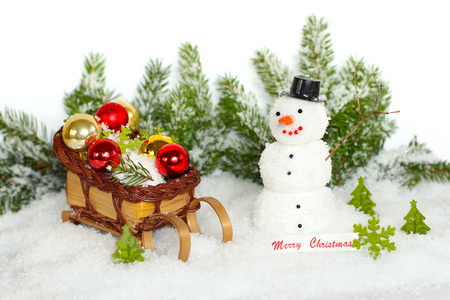 Snowman with winter snow background  Christmas card  photo