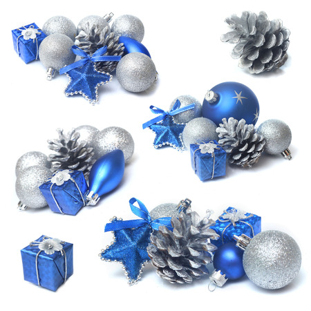 christmas decorations with blue and silver bauble