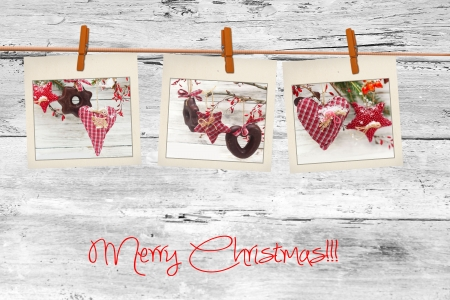 clothespin and rope: Photos frames on christmas background