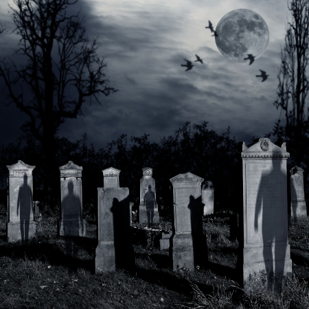 ghosts: Ghosts come out of the graves in the old cemetery with full moon