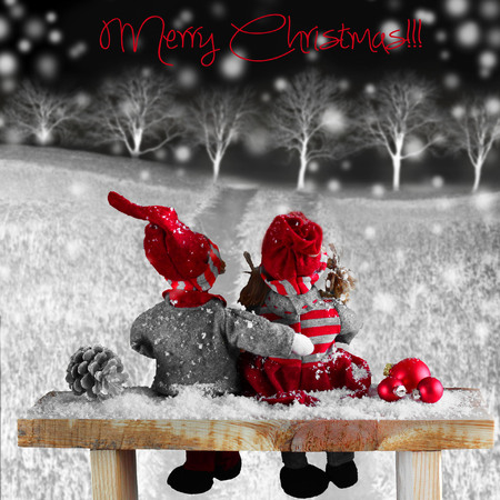two dolls at night in Christmas time  Christmas story  Stock Photo
