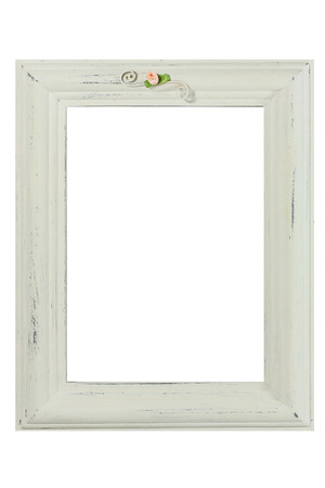 Distressed white painted picture frame photo